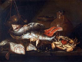 Abraham Beyeren | Still Life with Fish | Giclée Canvas Print