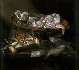 Abraham Beyeren | Still Life with Plaices and Crabs, c.1646/55 | Giclée Canvas Print