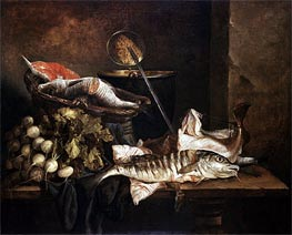 Abraham Beyeren | Still Life with Fish, c.1650 | Giclée Canvas Print