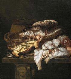 Abraham Beyeren | Still Life with Fish, c.1650/90 | Giclée Canvas Print