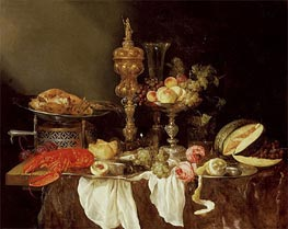 Abraham Beyeren | Still Life with a Lobster and Turkey, 1653 | Giclée Canvas Print