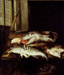 Abraham Beyeren | Interior with Still Life of Fish, c.1655/66 | Giclée Canvas Print
