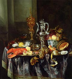 Abraham Beyeren | Still Life with Fruit and Shellfish, Undated | Giclée Canvas Print