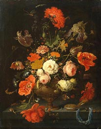 Abraham Mignon | Still Life with Flowers and Watch, c.1664/79 | Giclée Canvas Print