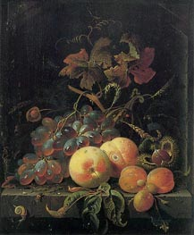 Abraham Mignon | Fruit Still Life with Peaches, Grapes and Apricots, undated | Giclée Canvas Print