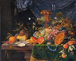 Abraham Mignon | Still Life with Fruit and Oysters, c.1660/79 | Giclée Canvas Print