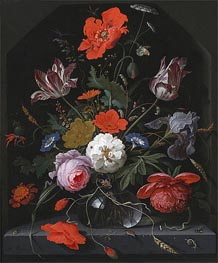 Abraham Mignon | Flowers in a Glass Vase on a Ledge | Giclée Canvas Print