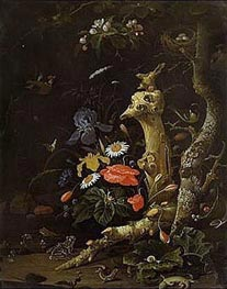 Abraham Mignon | Field Flowers and Birds, undated | Giclée Canvas Print