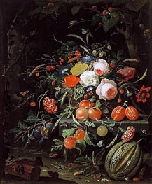 Abraham Mignon | Still Life with Flowers and Fruit | Giclée Canvas Print