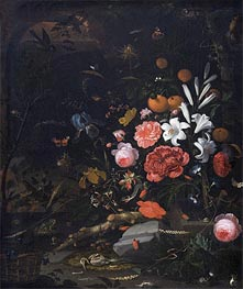 Abraham Mignon | Still Life with Flowers and Animals, 1670 | Giclée Canvas Print