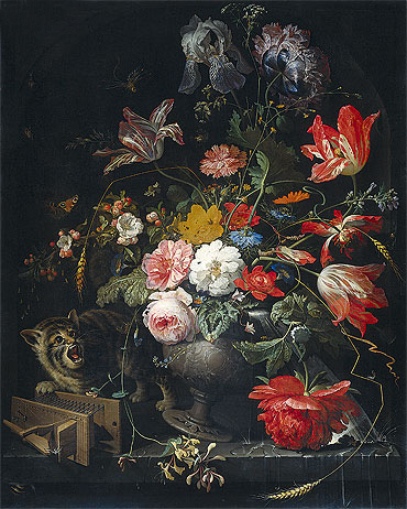 Still Life with Flowers, Cat and Mousetrap, c.1670/80 | Abraham Mignon | Painting Reproduction