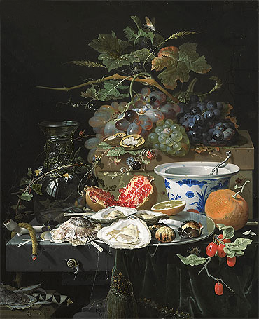Still Life with Fruit, Oysters and Porcelain Bowl, c.1660/79 | Abraham Mignon | Painting Reproduction