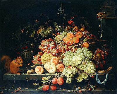 Still Life with Fruit, Squirrel and Goldfinch, undated | Abraham Mignon | Painting Reproduction