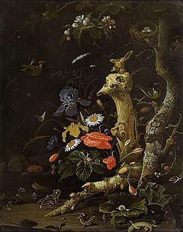 Field Flowers and Birds, undated | Abraham Mignon | Painting Reproduction