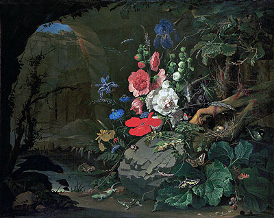 Flowers and Animals in a Casemate, undated | Abraham Mignon | Painting Reproduction