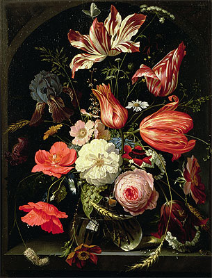 Still Life of Flowers on a Ledge, undated   Abraham Mignon   Painting Reproduction