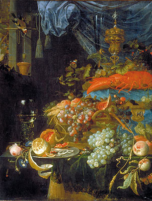 Still Life with Fruit and a Goldfinch, 1679 | Abraham Mignon | Giclée Canvas Print