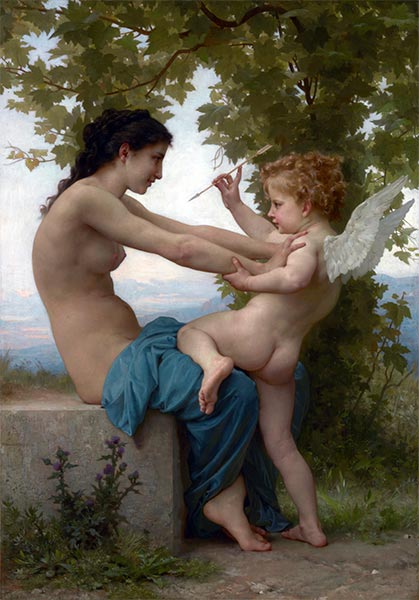 Young Girl Defending Herself against Eros, 1880 | Bouguereau | Painting Reproduction