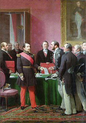 Napoleon III Hands Over The Decree allowing the Annexation of the Suburban Communes of Paris to Baron Georges Haussmann in June 1859, Undated | Adolphe Yvon | Giclée Canvas Print