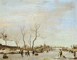Adriaen van de Velde | Frozen Canal with Skaters and Hockey Players, 1668 | Giclée Canvas Print