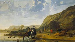 Aelbert Cuyp | River Landscape with Riders | Giclée Canvas Print