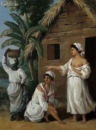 Agostino Brunias | CaribbeanWomen in Front of a Hut, c.1770/80 | Giclée Canvas Print