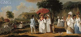 Agostino Brunias   West Indian Landscape with Figures Promenading before a Stream, undated   Giclée Canvas Print