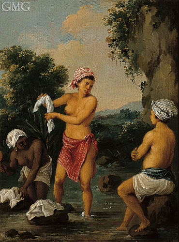 Three Caribbean Washerwomen by a River, c.1770/80 | Agostino Brunias | Giclée Canvas Print