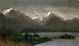 Bierstadt | Mountains and Lake, indated | Giclée Canvas Print