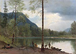 Bierstadt | Campers with Canoes, undated | Giclée Canvas Print