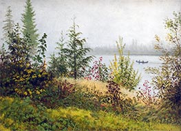 Bierstadt | Canoe on Northern River | Giclée Canvas Print