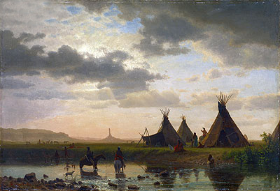 View of Chimney Rock, Ohalilah Sioux Village in the Foreground, 1860 | Bierstadt | Giclée Canvas Print
