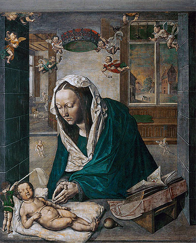 Mary Adoring the Child (Dresden Altarpiece - Central Panel), 1496   Durer   Painting Reproduction