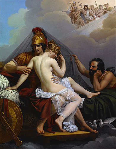 Mars and Venus Surprised by Vulcan, 1827 | Alexandre Guillemot | Giclée Canvas Print