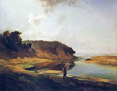 Landscape with River and Fisherman, 1859 | Alexey Savrasov | Giclée Canvas Print