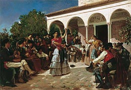 Alfred Dehodencq | Gypsy Dance in the Gardens of the Alcazar before the Pavilion of Charles V, 1851 | Giclée Canvas Print