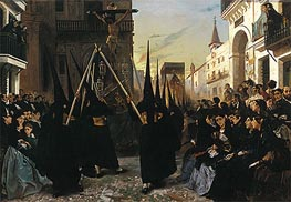 Alfred Dehodencq | A Religious Confraternity Processing along the Calle Genova, Seville, 1851 | Giclée Canvas Print