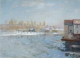 Alfred Sisley | The Loing and the Mills of Moret, Snow Effect | Giclée Canvas Print