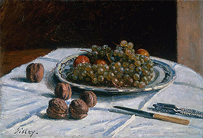 Grapes and Walnuts on a Table, 1876 | Alfred Sisley | Giclée Canvas Print