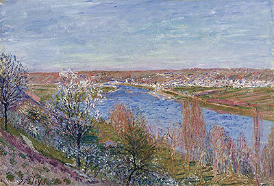 The Village of Champagne at Sunset - April, 1885 | Alfred Sisley | Giclée Canvas Print