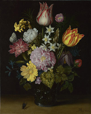 Flowers in a Glass Vase, 1614 | Ambrosius Bosschaert | Painting Reproduction