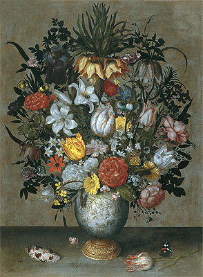 Chinese Vase with Flowers, Shells and Insects, c.1609   Ambrosius Bosschaert   Giclée Canvas Print