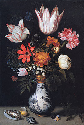 Flowers in a Vase, c.1619 | Ambrosius Bosschaert | Painting Reproduction