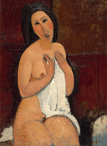 Seated Nude with a Shirt, 1917 | Modigliani | Giclée Canvas Print