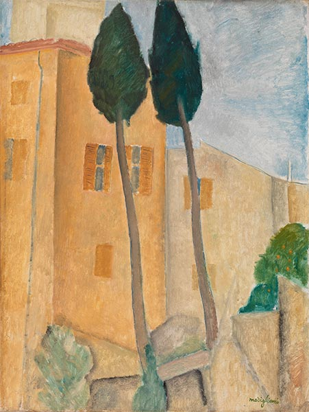 Cypresses and Houses at Cagnes, 1919 | Modigliani | Giclée Canvas Print