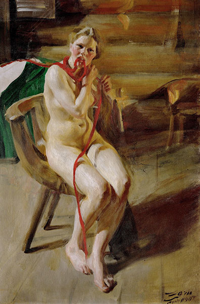 Nude Braiding her Hair, 1907   Anders Zorn   Painting Reproduction