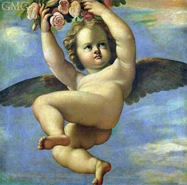 Annibale Carracci | A Cherub Carrying Flowers, Undated | Giclée Canvas Print