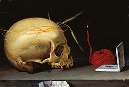 Anonymous German Master | Vanitas Still Life with Skull, Wax Jack and Pocket Sundial, c.1620 | Giclée Canvas Print