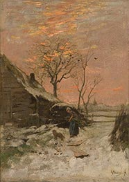 Anton Mauve   Winter Landscape (Farm with Woman and Dog in the Snow), Undated   Giclée Canvas Print