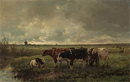 Anton Mauve   Landscape with Cows and Mill on the Horizon, c.1858/88   Giclée Canvas Print